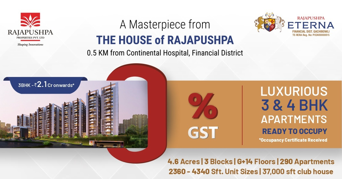 rajapushpa eterna - premium apartments for sale in gachibowli