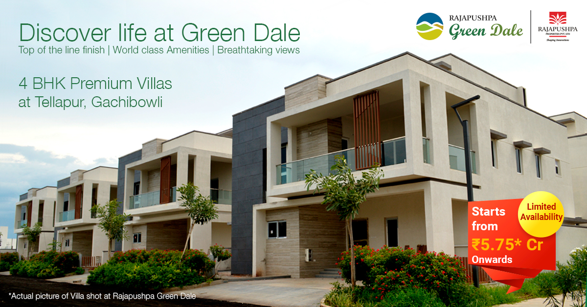 rajapushpa green dale - triplex villas for sale in gachibowli, tellapur